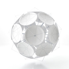 Ball from satellite dishes on an white background