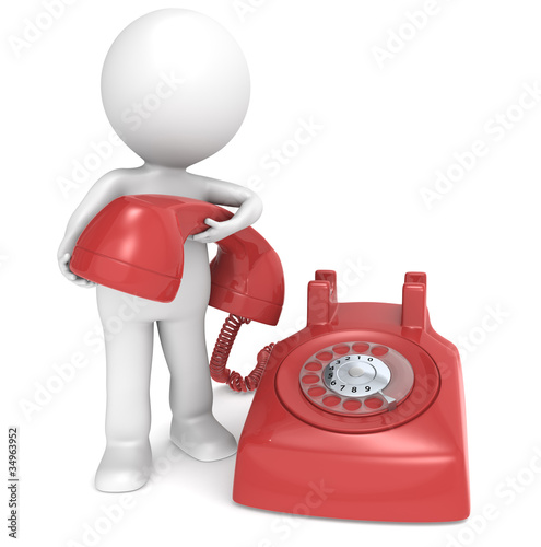 3D little human character with a Telephone. People series.