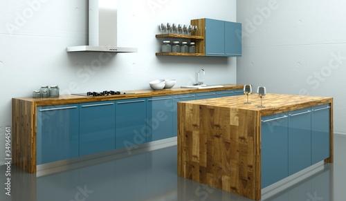 Küchendesign - Küche blau mit Holz