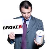 Portrait of bankrupt broker holding money box poster