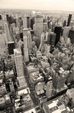 Manhattan skyline with New York City skyscrapers in black and wh - 34966796