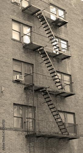 New York City apartment stairway black and white - 34966783