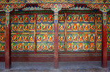 Colorful wall of Buddhist temple, Tibet