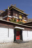 Ornate temple entrance at Buddhist monastery, Tibet