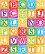 Vector Baby Blocks Set 1 of 3 - Capital Letters Alphabet - 34967791