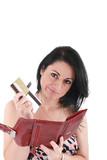 Young caucasian woman with empty wallet - broke and many credit poster