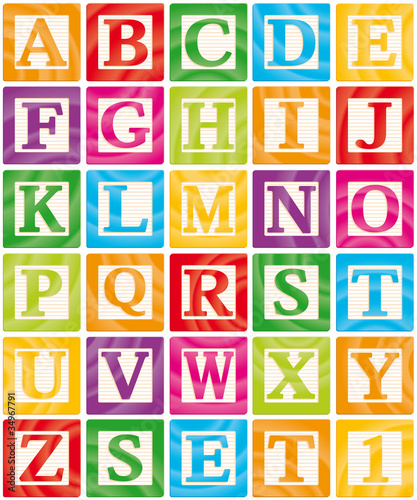 Wall mural Vector Baby Blocks Set 1 of 3 - Capital Letters Alphabet