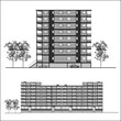 facade. Habitation building - vector