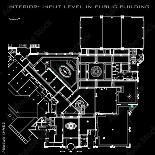 interion-input level in public building, vector