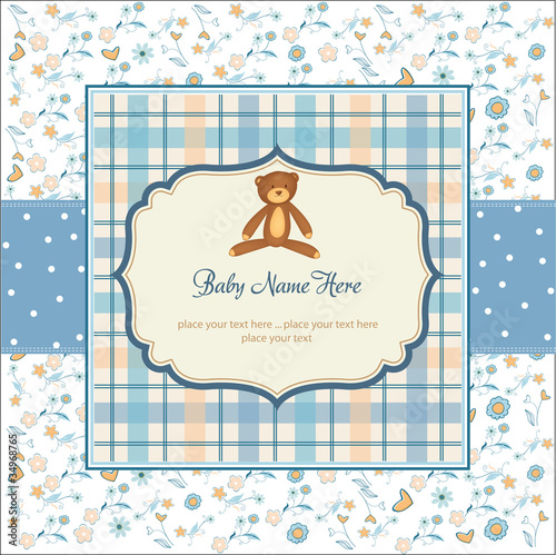 delicate floral baby boy shower card