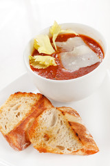 tomato soup with celery and toasts