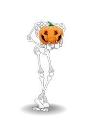 Halloween Scheletro e Zucca-Cartoon Skeleton and Pumpkin-Vector