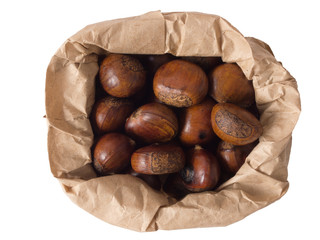 close up of a bag of roasted chestnuts
