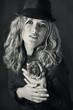 black and white retro portrait .Woman.