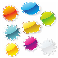 Multi-colored realistic stickers with a place for the text