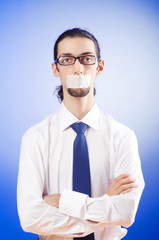 Businessman with his lips sealed