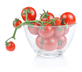 Branch of cherry tomato salad bowl in isolated white background