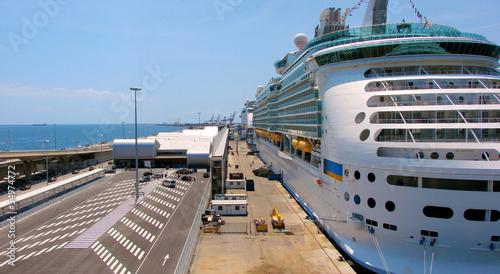 Leinwandbild Motiv passenger port in Barcelona, Spain