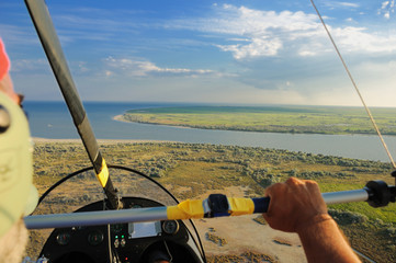 flying over the Danube Delta near Sfantul Gheorghe
