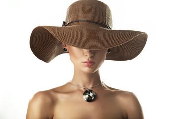 Portrait of a beauty woman wearing hat