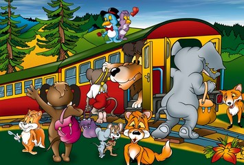 Train Trip - Cartoon Background Illustration, Bitmap