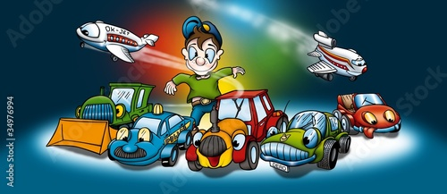 Poster Cars Transportation - Cartoon Background Illustration