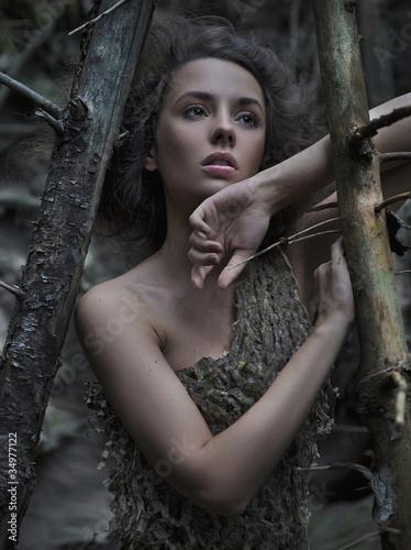 Portrait of a woman wearing a seersucker dress