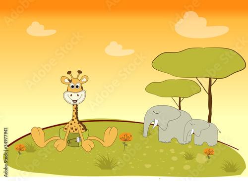 Fototapeta baby giraffe in jungle