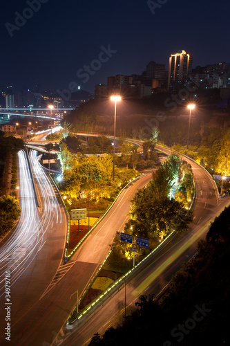 Overpass with city night scape,chongqing,china