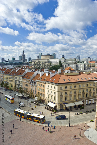 Naklejka View on both old and new polish capitol, Warsaw
