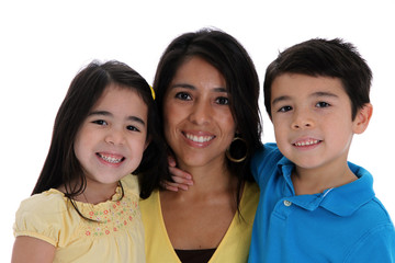 Woman and Kids On White Background