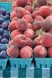 Fresh organic peaches for sale at a Farmer's Market