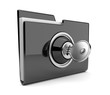 Black folder and lock. Data security concept. 3D isolated
