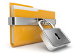 Yellow folder and lock. Data security concept. 3D isolated