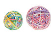 two rubber band balls, one big and one small