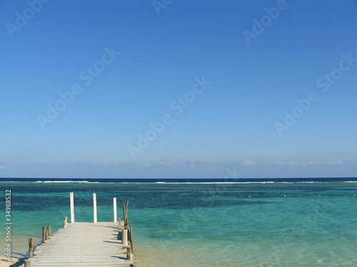 Sea, sky and pier in the Mexican Caribbean