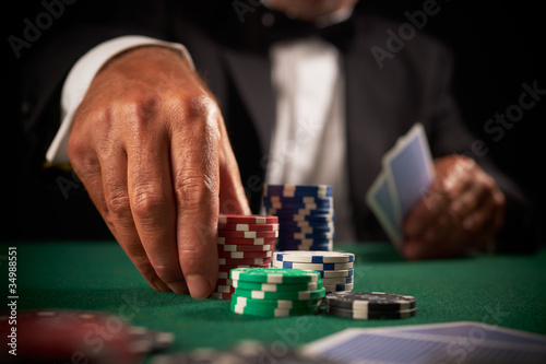 Poster card player gambling casino chips