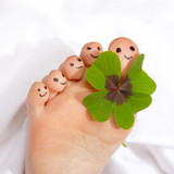 Close up of a happy foot with shamrock