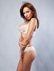 beautiful brunette woman in underwear