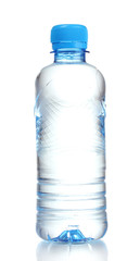 plastic bottle with water isolated on white