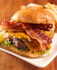 Bacon cheeseburger shot with selective focus