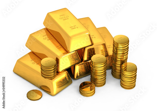 3d gold bars and coins