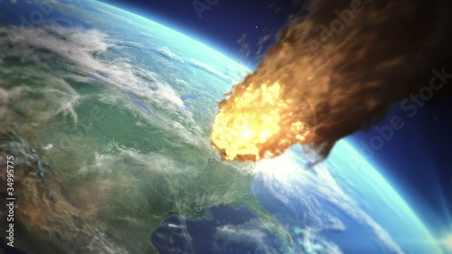 Meteor heading to Earth atmosphere