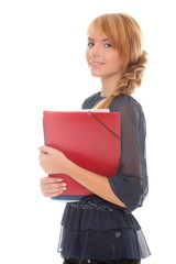 young woman with folders
