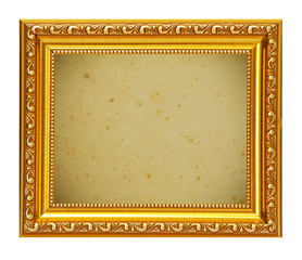 Gold frame with old paper background