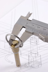 Calipers and pip-pin on a technical drawing