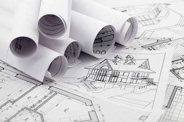 rolls of architecture blueprint & house drawings