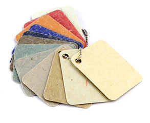 palette of color samples of plastics, PVC, for furnishing