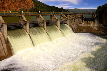 Release of water at a dam wall.