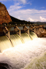 Water release at dam wall